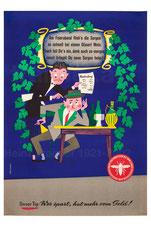 Am Feierabend flieh'n die Sorgen ... Plakat gegen Geldverschwendung (Erste österreichische Spar-Casse).