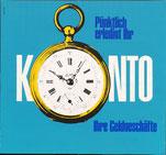 Pünktlich erledigt Ihr Konto  Ihre Geldgeschäfte (Plakat 37x32 cm 1966).