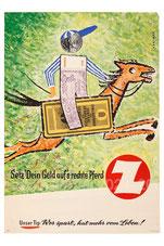 Setz' Dein Geld auf's rechte Pferd. (Sparkassenbuch als Pferd, Banknote als Jockey) Sparkassenplakat um 1958 (83x60).