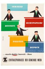 Inkasso Wertpapiere Devisen Valuten Depots  . Vier Männer hinter fünf Schreibtischen . Plakat  1960.