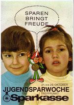Weltspartag 1970. Matthias Traimer und Sparefroh. Plakat von Heinz Traimer.
