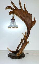 Geweihlampe, Tischlampe, Damwild, Schreibtischlampe, Glasschirm , € 360,00