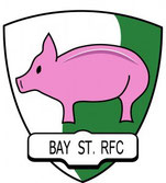 Image of a pink pig on a green and white crest Bay Street RFC