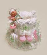 Нежный, трогательный подарок из памперсов для новорожденного ребёнка с куколкой Анне Геддес
