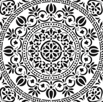 Plantillas o stencils de diferentes tamaños con diseños geométricos y de mándalas para estarcir.