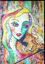 Gemälde, Leinwand, Kunst, art, Augenfreud, Original, Unikat, Acryl, Musik, Geige, Geigerin, Musik, Malerei, abstrakt, bunt, 2