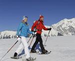 Escursionisti invernali con le ciaspole