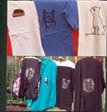 allerlei Katzenmotive auf Shirts und Westen