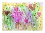 Herzblumen, Postkarte, glänzend, Illustration von silvanillion