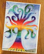 Postkarte, Grußkarte, Motiv: Regenbogenbaum, Illustration