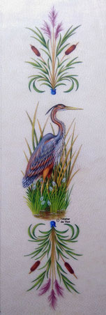 Héron pourpré, peinture à la détrempe, art animalier, naturalisme