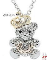 Collier à pendentif ours argenté et sa couronne sertie de strass