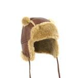 chapeau enfant bébé en agneau mérinos mouton peau fourrure cuir fourré laine lainé only mo bonnet chapka cagoule baby zyon2 coté