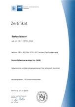 Zertifikat Immobilienverwalter IHK Stefan Nixdorf Peine Region