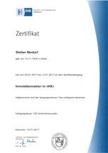 Zertifikat Immobilienmakler IHK Stefan Nixdorf Peine