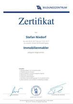 Zertifikat Immobilienmakler Stefan Nixdorf Peine und Region