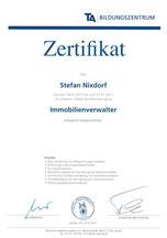 Zertifikat Immobilienverwalter Stefan Nixdorf Peine