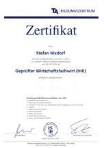 Zertifikat Wirtschaftsfachwirt Stefan Nixdorf Immobilien Peine