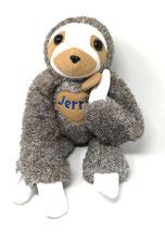 Kuscheltier Faultier für Spieluhr, personalisierbar mit Namen und Wunschmelodie, 45cm, aus kuscheligen Plüsch in 100% Baumwolle in braun