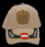 Kappe Austria beige, Stick Wappen und Adler