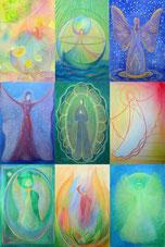 Das Bild zeigt 9 Engelbilder von Annelie Staudt