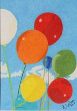 Dessin crayons de couleur ballons colorés à l'hélium.