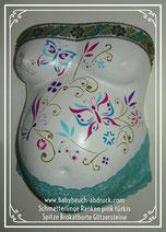 selbst angefertigter Babybauchgipsabdruck Reparatur Versand Bauchabdruck türkise pinke Schmetterlinge, Schnörkel, Spitze, Glanzfirnis