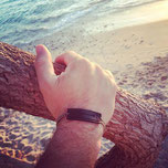 bracelet cuir et chaine homme