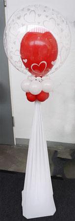 Ballon Luftballon Ständer Dekoration Deko Hochzeit Eingang Herzen Ballonständer elegant modern personalisiert mit Namen Brautpaar Bubble