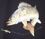 t-shirt et casquette pêcheur de sandre