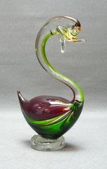Murano Glas Schwan, mundgeblasen, Klarglas, grün und rot, 19,5 cm , € 65,00