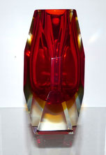 Murano Blockvase Sommerso, Red & Amber, facettiert, € 150,00