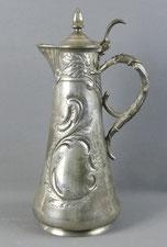 Jugendstil Zinn Kanne, Gerhardi & Co., Weinkanne, Trauben, Rocaillen, 33,5 cm , € 165,00