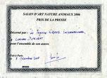 Prix de la presse du 6èmeSalon d'Art Nature et Animaux 2006