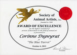 Prix d'excellence du jury, 52ème  exposition de la Society of Animal Artists (USA) 2012
