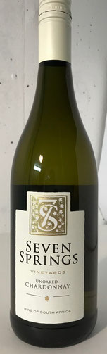 Seven Unoaked Chardonnay 2014  Der Seven Springs Unoaked Chardonnay leuchtet goldgelb im Glas. Die Nase duftet nach Pampelmuse, Papaya, Guave, Brioche feinen Butter und Röstaromen mit einem Hauch Vanille. Am Gaumen zeigt der Seven Springs Unoaked Chardonn