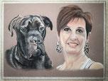 Portrait d'un chien cane corso avec sa maîtresse par coach canin  educateur canin à domicile en charente