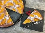 Rührkuchen mit Pfirsich vom Grillstein