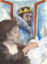 Aschenbrödel mit einer Taube steht am geöffneten Fenster, dahinter Rolf Hoppe als König