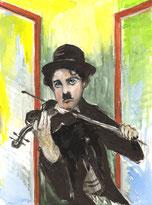 Charlie Chaplin spielt Geige am geöffnetem Fenster
