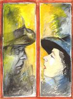 Humphrey Bogart und Ingrid Bergmann schauen sich am Fenster in die Augen, Aquarellzeichnung