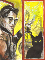 Willi Schwabe mit einer Lampe in der Hand und eine schwarze Katze blicken aus einem Fenster.