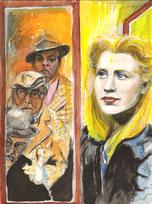 Die Olsenbande und die Prinzessin mit dem goldenen Stern schauen aus dem Fenster, Aquarellzeichnung