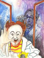 Fensterbild Aquarell von Peter Albach Clown Ferdinand und Professor Flimmrich