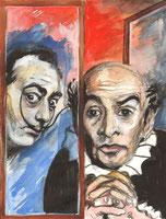Salvador Dali und Louis de Funes am Fenster, Aquarell von Peter Albach