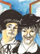 Stan Laurel und Oliver Hardy blicken aus dem geöffneten Fenster