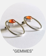 Collection Gemmes Argent - Boucles d'oreilles argent et cornaline