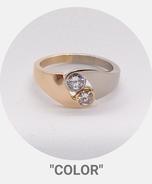 Collection Color - Bague Or rose et or gris palladié, diamants