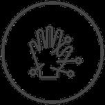 Symbol Hand mit Akupunkturnadeln