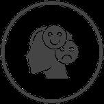 Symbole Kopf mit einem fröhlichen und einem traurigen Smiley